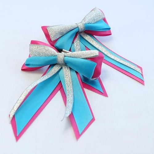 ShowQuest Piggy Bow & Tails in Cerise/Turquoise/Silver